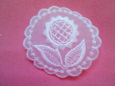 """White Embroidered Organza """"Iron On"""" Circle with a Lovely Sun Flower"""