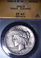 1921 High Relief Peace Silver Dollar ANACS EF40. Key Date,