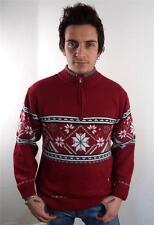 VINTAGE UOMO Spessi Norvegesi Snowflake Knitwear Sweater Maglione M