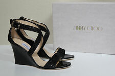 sz 9 / 39 Jimmy Choo Fearne Black Lace Glitter Sandal Peep Toe Patent Wedge Shoe