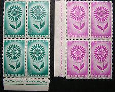 1964  ITALIA 30+70  lire Europa  2 quartine  bdf  MNH**