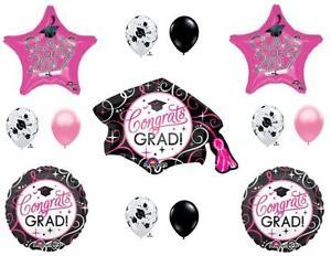 PINK & BLACK  CLASS 2017 Graduation Party Balloons Decoration Cap Hat Supplies