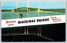 Greetings from Mackinac Straits Bridge Mackinaw, Michigan Chrome Postcard Unused