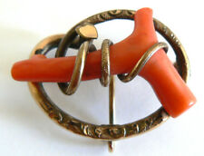 Vintage Antique Natrual Untreated Coral Victorian Red Coral Brooch Pin Pendant