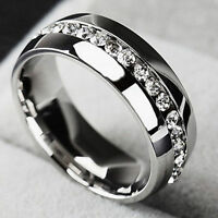 Men CZ Couple Stainless Steel Wedding Ring Women Titanium Engagement Band Sz7-11