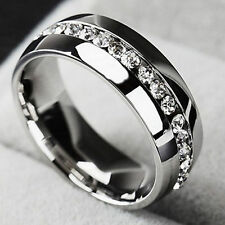 Men/Women CZ Couple Stainless Steel Ring Titanium Engagement Wedding Band Sz7-11