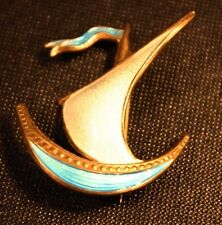 IVAR HOLTH HOLT Enameled Sterling Sailboat Pin Norway