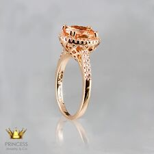 14K ROSE GOLD KGL 1.80 CTW NATURAL PINK MORGANITE SAPPHIRE HALO SOLITAIRE RING.