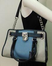 Michael Kors Hamilton East West Blue Leather Satchel Shoulder Bag Handbag Purse