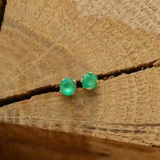 Solid 14k Yellow Gold Tiny 3mm Round Natural Zambian Emerald Stud Earrings