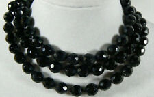 36 Inch AA Natural 10mm faceted black onyx gemstone necklace