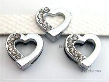 5pcs 8mm Half Rhinestone Heart Slide Charms DIY Pet Collar Bracelet SL0271-3