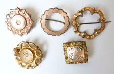Lot 5 broches 19e siècle en métal doré bijou ancien Napoléon III broche