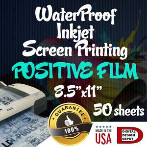 "WATERPROOF Inkjet Transparency Film for Screen Printing 8.5"" x 11"" 50 sheets #1"