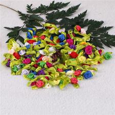100pcs mini nastro di raso fiori Rose Decorazioni da cucire appliques  Nuovo