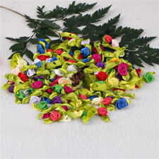 100 x petit ruban de Satin Mini fleurs Rose Wedding Decor couture Appliques DIY
