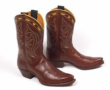 50's Nocona Cowboy Boots -Wmn's 8.5B Vtg Brown Shorty Pee Wee Inlaid Cloth Pulls