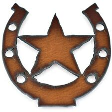 "Country Western Rusted Patina Iron Metal Cutout Lucky Horseshoe Star 3.5"" Magnet"