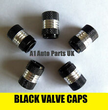 BLACK & CHROME VALVE TYRE DUST WHEEL CAPS FITS VOLKSWAGEN VW GOLF GTI TDI GT