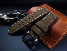 SV Vintage Dark Kaki 24mm Panerai Cow Leather Watch Strap Band+Brush Buckle New