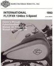 1983 HARLEY-DAVIDSON FLHT-FLT 80-FXR-FXRS INTERNATIONAL OWNERS MANUAL