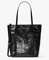 Michael kors Emry Crinkled Leather Large Tote Top Zip handbag purse NS Black NWT