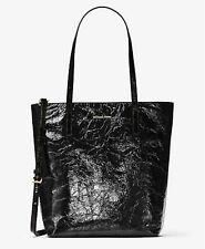 Michael kors Emry Crinkled Leather Large Tote Top Zip handbag purse NS Black NWT