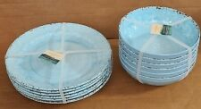 12 Cynthia Rowley Blue Melamine Dinner Plate (6)& Bowl (6) Rustic Medallion Aqua
