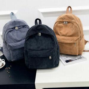 Ladies Men Vintage Rucksack Corduroy Backpack School Bag Solid Casual