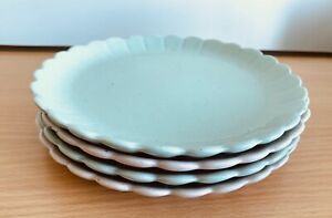 Vintage Scalloped Edge Ceramic Plate Pretty Pastel Green & Pink - NEW - Set of 4