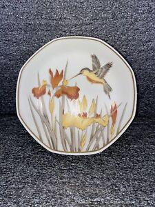 Vintage Chokin Art By Artmark Hummingbird & Iris Large Trinket Dish W/ Lid 1987
