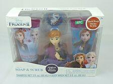 Disney Frozen II Anna Bath Set Shampoo 3 oz Body Wash 3 oz Bath Scrubby & Hook
