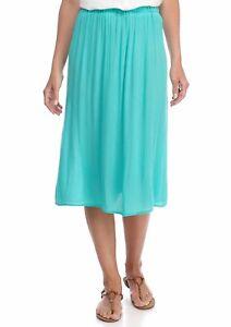 KIM ROGERS L, XL Turquoise Globe Crinkle Skirt NWT $44