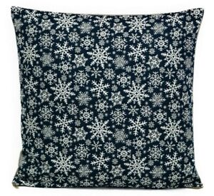 18x18 Snowflakes Blue Tapestry Pillow / Christmas Winter Bed/Sofa Decor