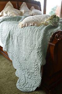 Soft Surroundings French Market Quilt Linen Cotton Queen Spa Color