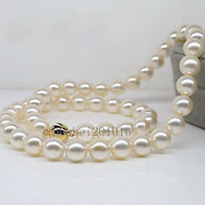 "AAAA+ 18""10-11mm Natural south sea perfect round WHITE pearl necklace 14K GOLD"
