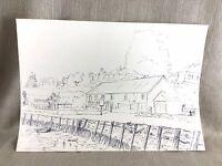 Original Kunstwerk Zeichnung Dunkelgrau Sketch Meer Harbour Coastal Stadt Quer-