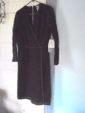 STONEBRIDGE Denim faux-wrap DRESS Size 14 stretch lace sleeve