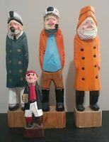 "4x Hand-Carved Sailor Crew Sea Captain Fisherman Wooden Nautical 12"" 6"" Figurine"