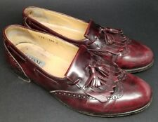 ALFANI made in ITALY Men's Leather Tassel Kiltie Loafers Mahogany Red sz. 10.5 M
