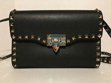 Valentino Garavani Small Rockstud Leather Crossbody Bag in Black