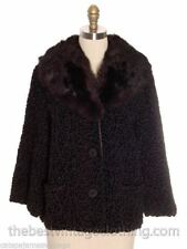 True Vintage Faux Karakul Lamb Coat Shorty Real Fur Collar 1960s M