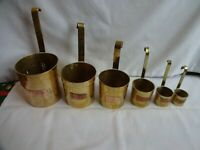 Rare Vintage Set Brass Measures with Hanging Hooks x 6, 1cl - 1/2 litre