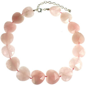 Heart natural semi precious rose quartz gentle pink stone necklace jewellery