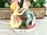 Bisque Figurine Old Time Boy w/Umbrella and Satchel & Girl