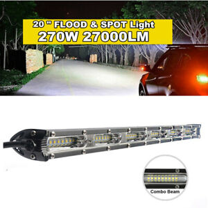 1x 20 inch 270W LED Light Bar Spot Flood Combo Beam Single Row Driving Lamps