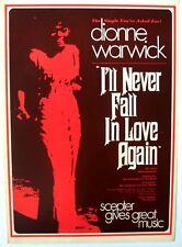 Dionne Warwick 1969 Poster I'Ll Never Fall In Love Again