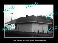 OLD LARGE HISTORIC PHOTO OF EDGAR NEBRASKA, THE RAILROAD DEPOT STATION c1960