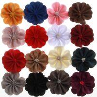 "20PCS 3.2"" 8.2CM Newborn Satin Fabric Flowers With Match Stick Center"