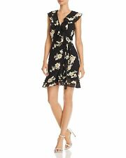 NEW $230 BARDOT WOMEN'S BLACK FLORAL-PRINT RUFFLED FAUX-WRAP DRESS 10
